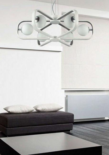 Żyrandol - Styl nowoczesny - biały, złoty -  - Salon