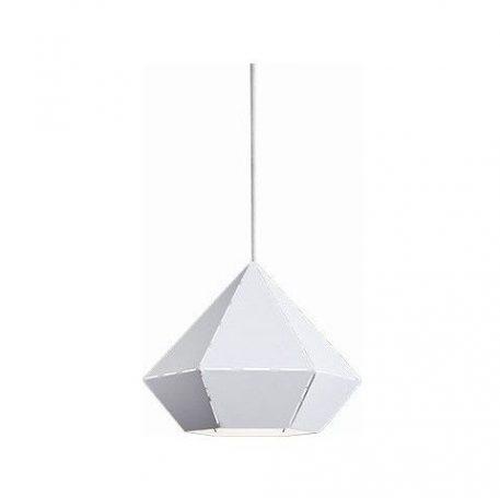 Biała lampa wisząca Diamond – metalowy klosz