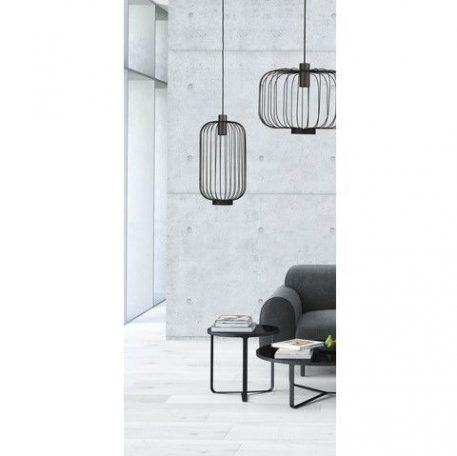 Czarna lampa wisząca Cage – podłużny, druciany klosz