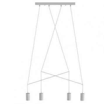 Designerska lampa wisząca Imbria – 4 klosze, biała