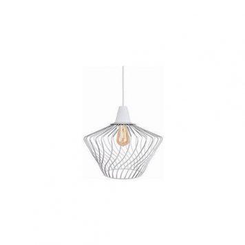 Druciana lampa wisząca Wave – biała, nowoczesna