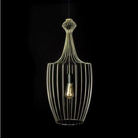 złota lampa wisząca glamour druciany klosz