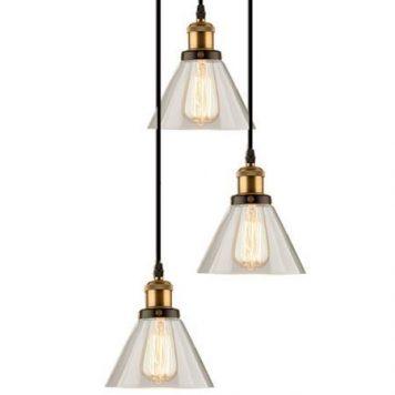 New York Lampa stołowa – industrialny – kolor mosiądz, transparentny