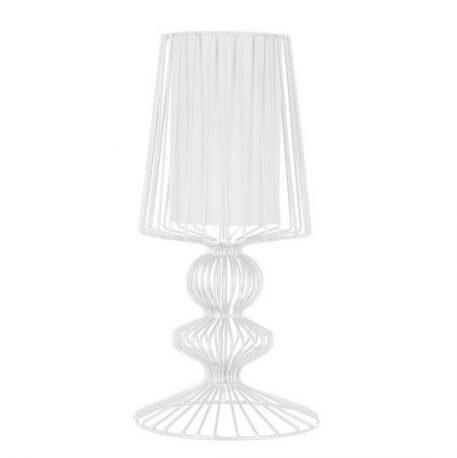 Nowoczesna lampa stołowa Aveiro – biała, z abażurem