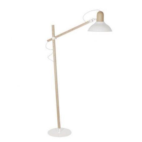Skandynawska lampa podłogowa Wood Boy – regulowany klosz