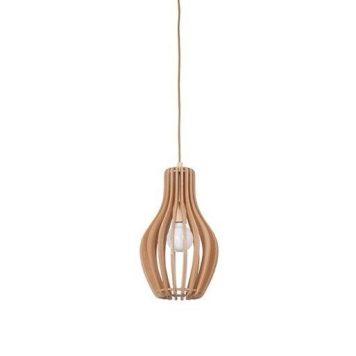 Skandynawska lampa wisząca Ika – drewniana