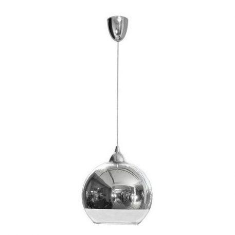 Szklana lampa wisząca Globe – srebrny klosz