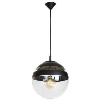 Szklana lampa wisząca Globus – czarne pasy