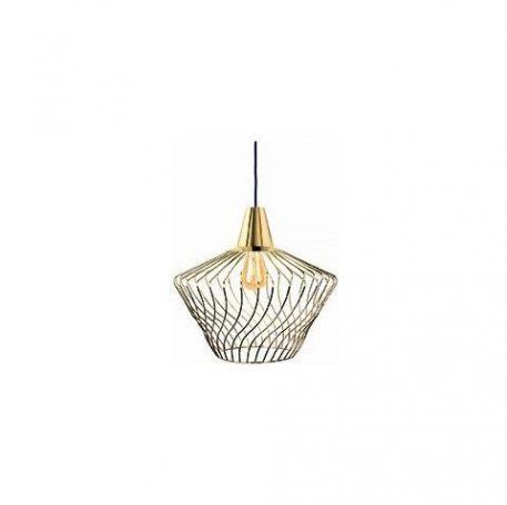 Złota lampa wisząca Wave – druciany klosz, nowoczesna